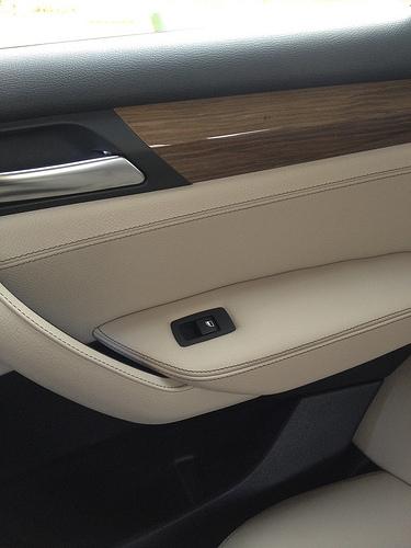 BMW X3 rear door trim - fine lined light wood trim, oyster leather, and black plastic trim