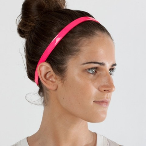 Jennifer Behr pink fluorescent patent leather skinny headband