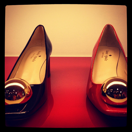Kate Spade patent leather and gold metal detail flats
