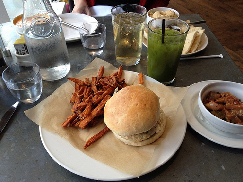 The chicken burger lunch with sweet potato fries, at the OE Restaurant