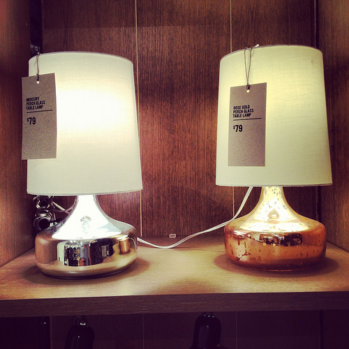 West Elm Perch Lamps at the Hyde Park store