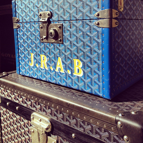 Monogrammed and personalized luggage at Goyard SF