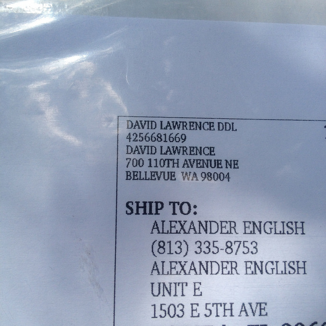 David Lawrence ships via UPS