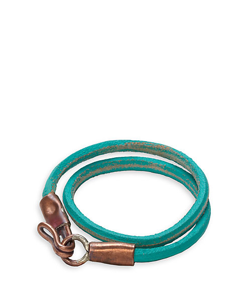 Jack Spade Cord Wrap Bracelet in turquoise with aged copper closure
