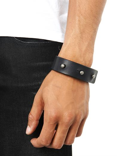 Leather strap bracelet with studs from Rick Owens