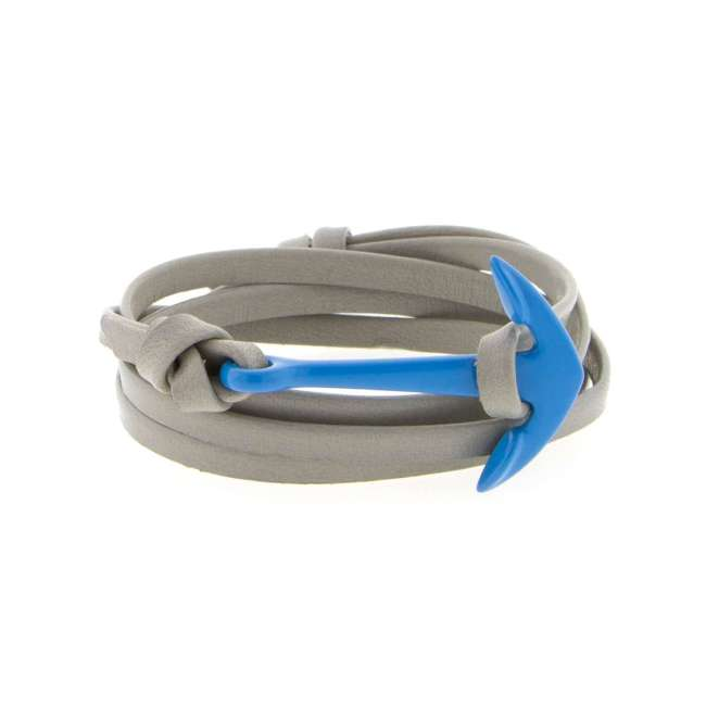 Miansai Blue Anchor with grey leather strap bracelet