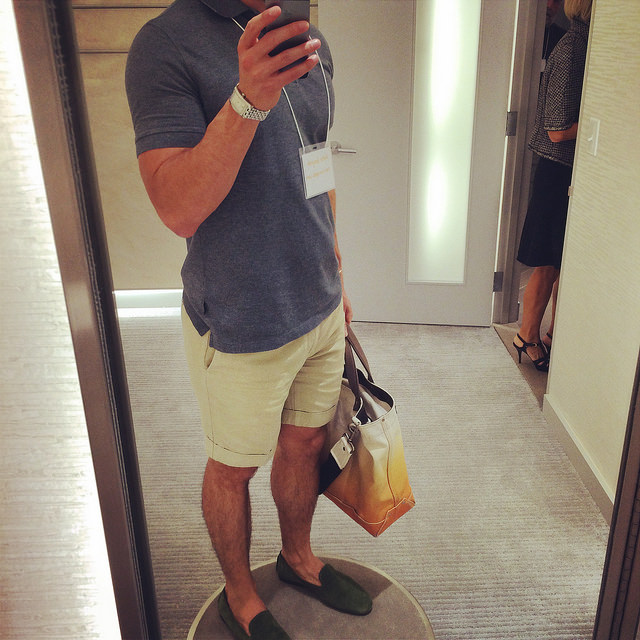 I could get used to these private dressing rooms! My outfit of the day: Incotex shorts, Hugo Boss polo shirt, Ralph Lauren suede venetian drivers, Jack Spade ombre tote, and Le Gramme bracelet.