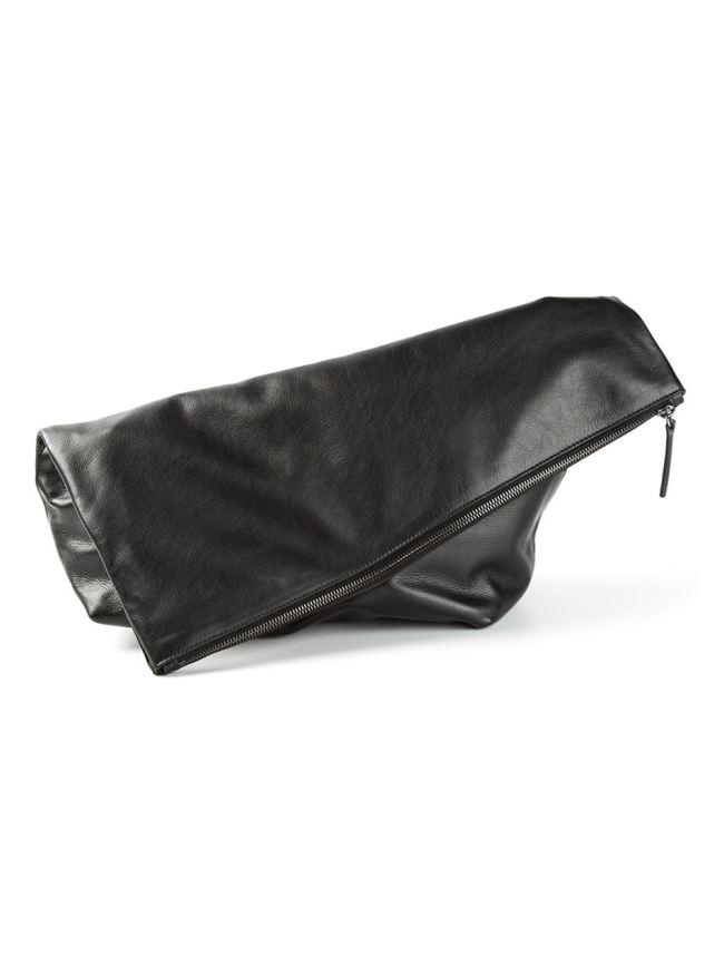 Jil Sander Nappa asymmetrical foldover clutch