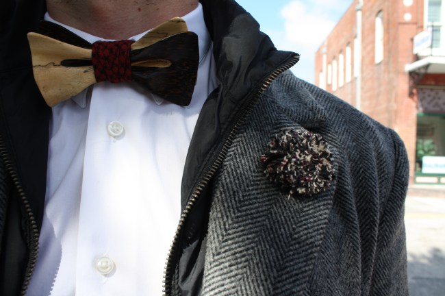 Another wooden bow tie & lapel pin