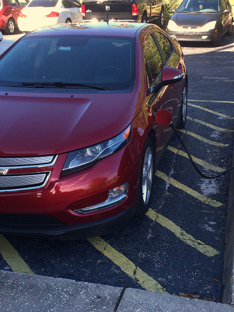 The Volt, plugged into a charging station