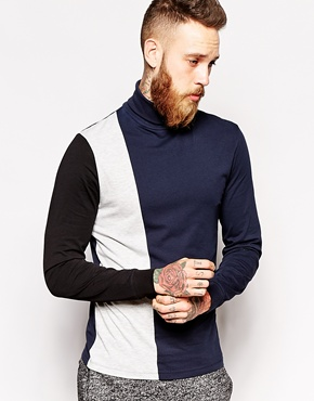 ASOS navy, white, and black colorblock turtleneck t-shirt