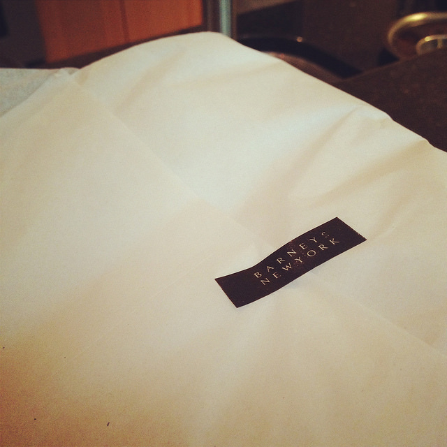 Barney's New York online shopping order presentation, always tissue-wrapped