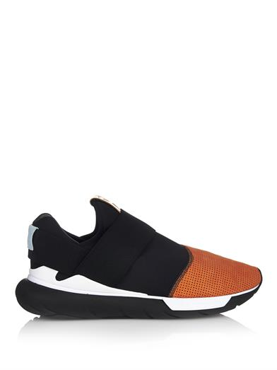 Y-3 Qasa Low II Trainers in black, white, and rust at Matches Fashion