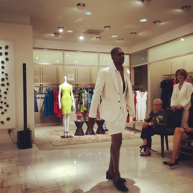 All white jacket and shorts, at Neiman Marcus Tampa Bay