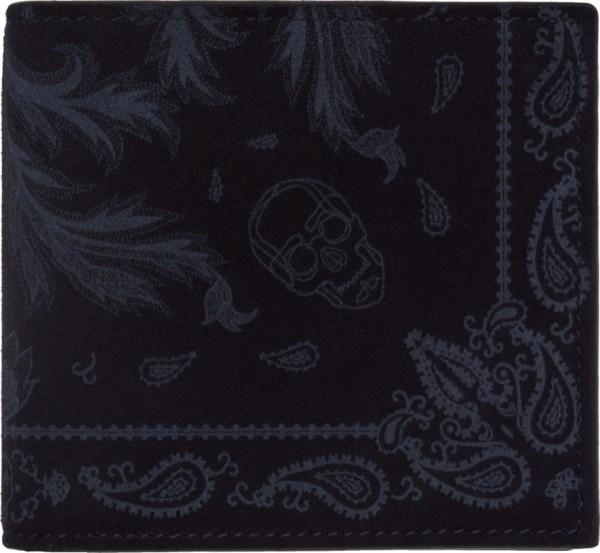 Alexander McQueen bandana-print suede billfold wallet at SSENSE
