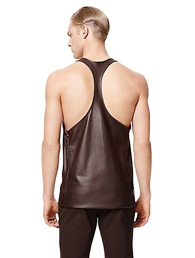 Calvin Klein Collection SS15 leather racerback tank in chocolate brown