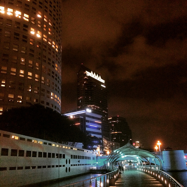 The most recently completed section of Tampa's Riverwalk, underneath Kennedy Blvd.