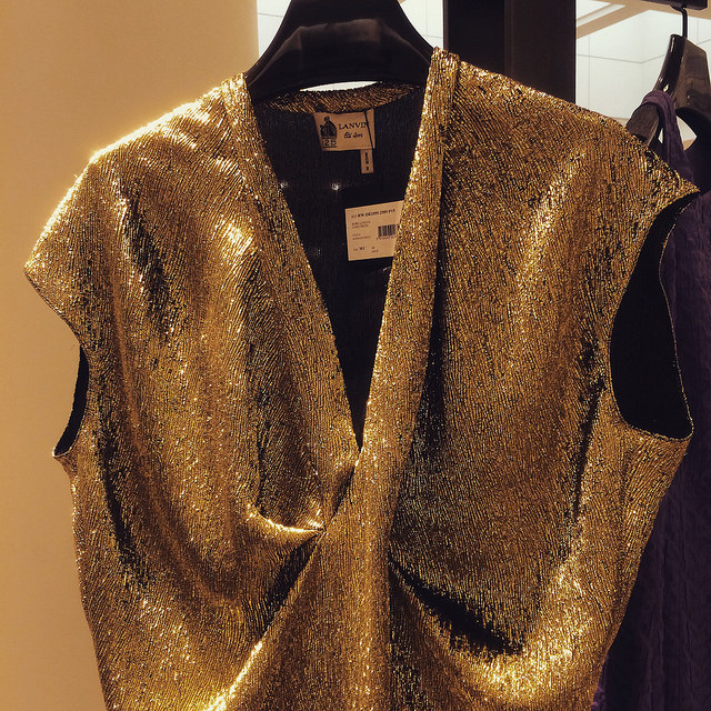 Lamé Lanvin eleganza draped dress in golden, at Nordstrom Tampa Bay (just a cool $5k)