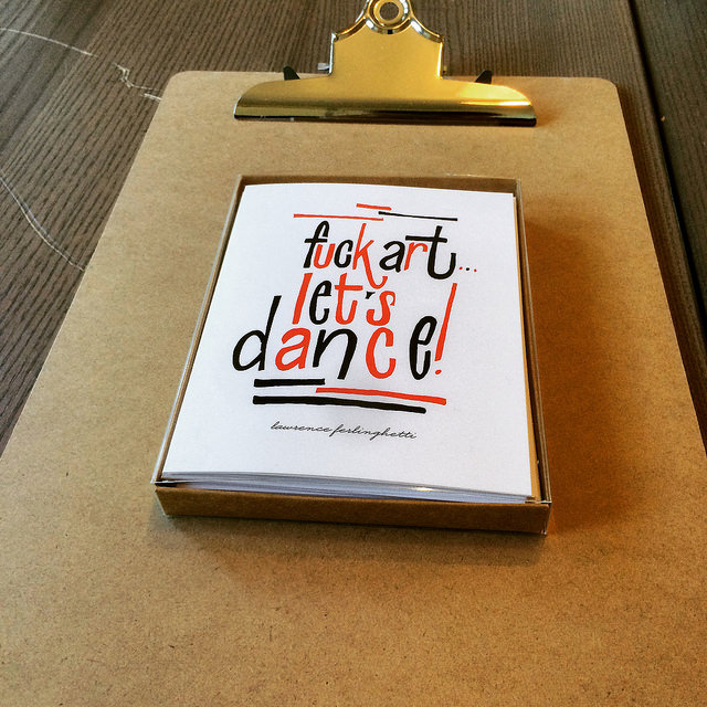 Fuck art let's dance card set, from Franny & Frankie, locally-made. At the Paper Seahorse.
