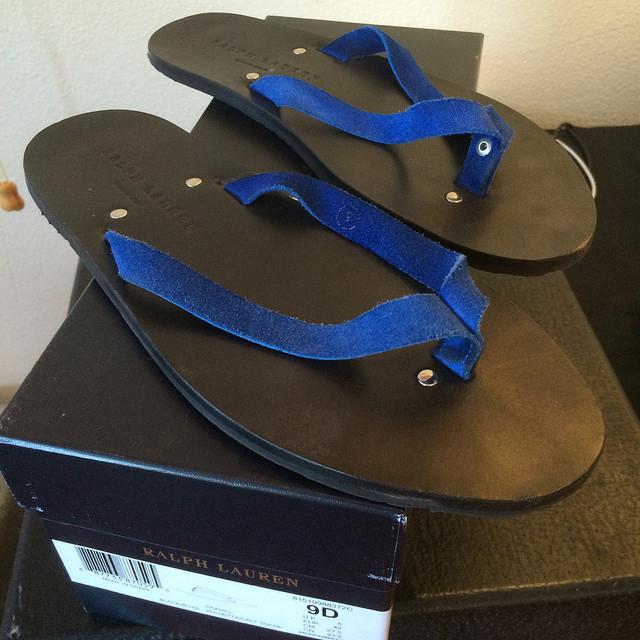 Ralph Lauren blue suede Paxhill flip-flop sandals