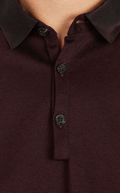 Grosgrain collar of a Lanvin polo shirt