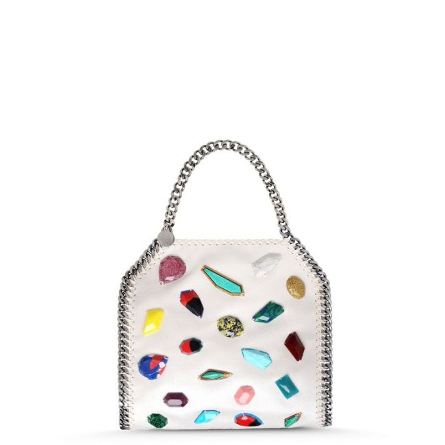 Stella McCartney Falabella Pearlescent Shaggy Deer Mini Tote with gemstones, all vegan-friendly (no leather)