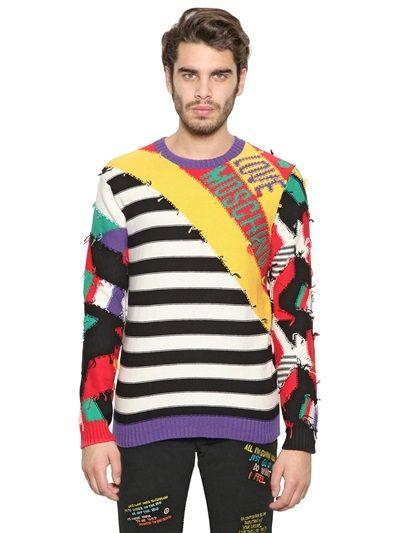 Moschino mixed-print knit sweater