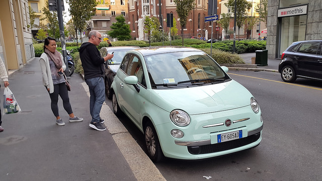Mint green Fiat 500! These cars are everywhere and they are even cuter in the setting of Italy...