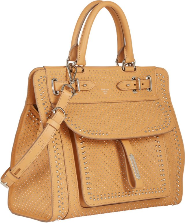 Fontana's top-handle A bag in neutral with studs, at Barneys.com