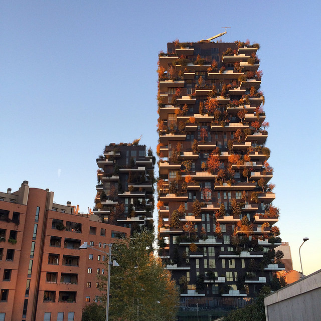 Bosco Verticale towers in Porta Nuova