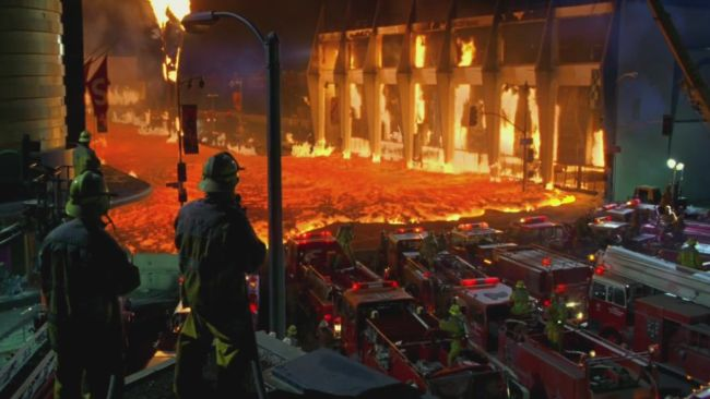 I believe this is the scene where the Los Angeles County Museum of Art (LACMA) melts to the ground.