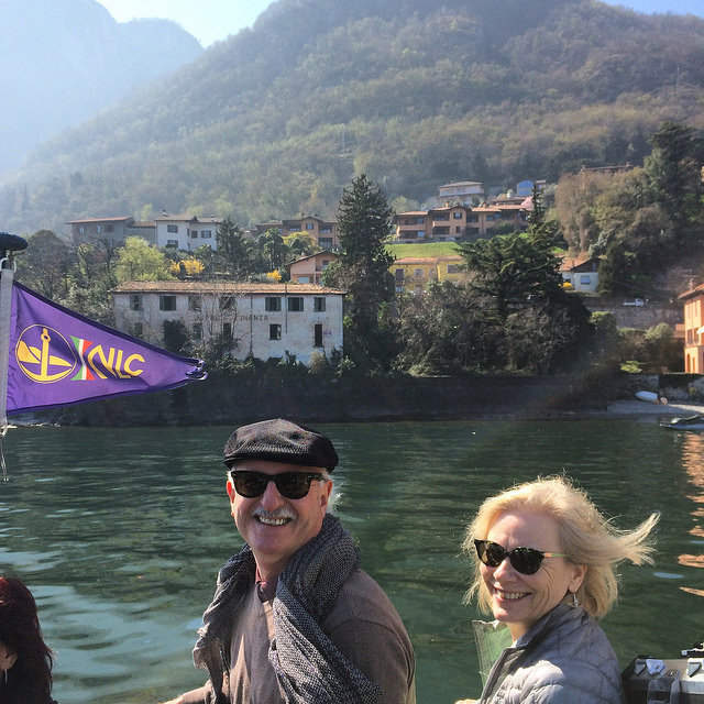 Ferrying across Lake Como - dad and Susan