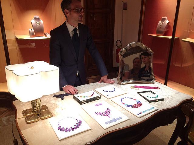 Raw unset jewels at Bvlgari Via Condotti