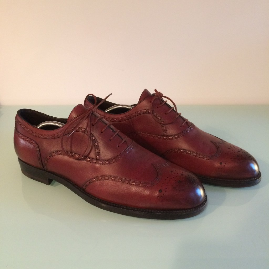 Burgundy Bottega Veneta brogues with burnished toes