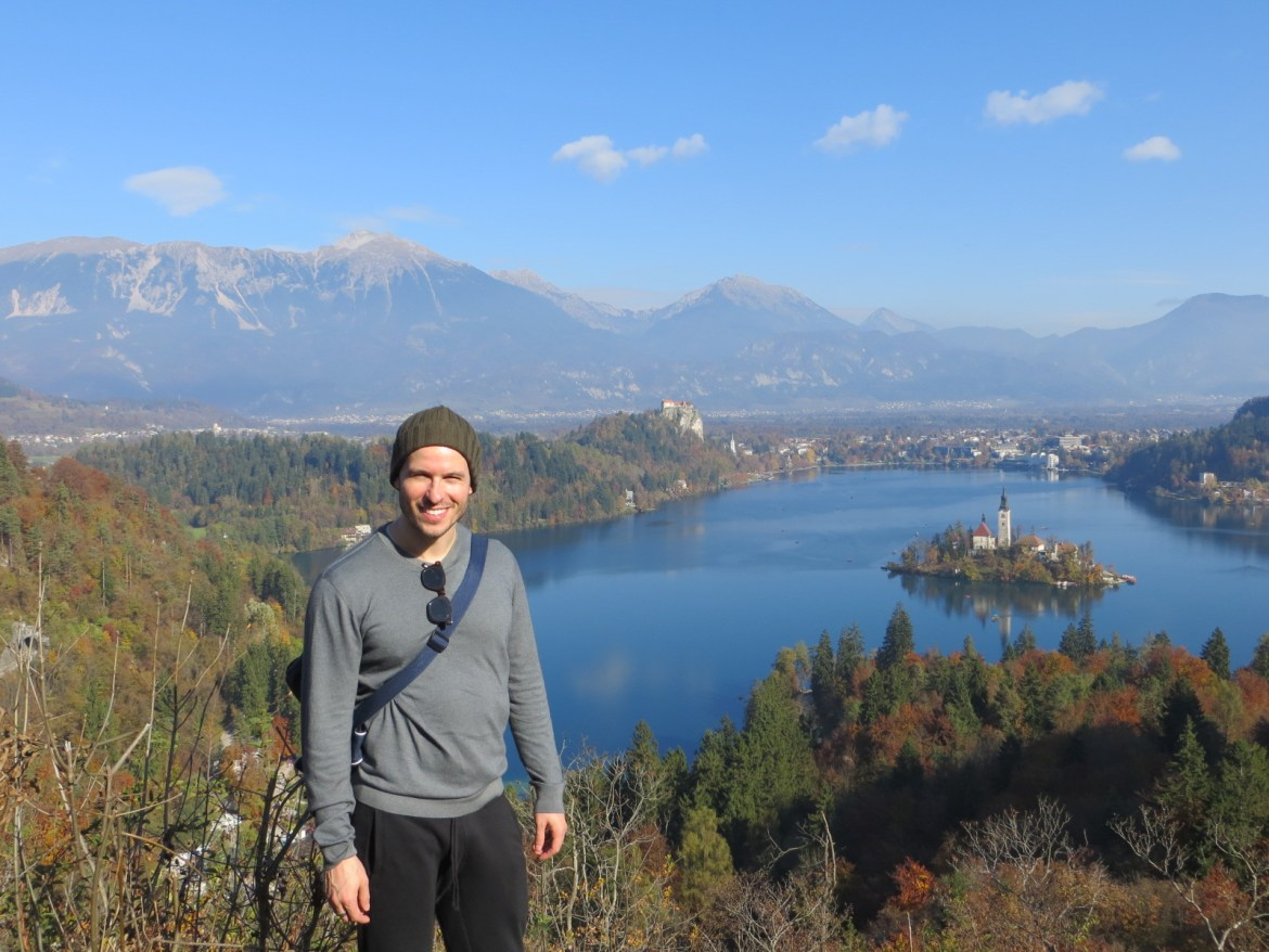 Me in Slovenia at Lake Bled wearing Colombo cashmere sweater <3