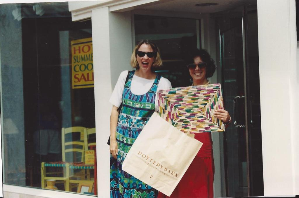 Shopping at Pottery Barn with Madeleine, circa mid-1990s