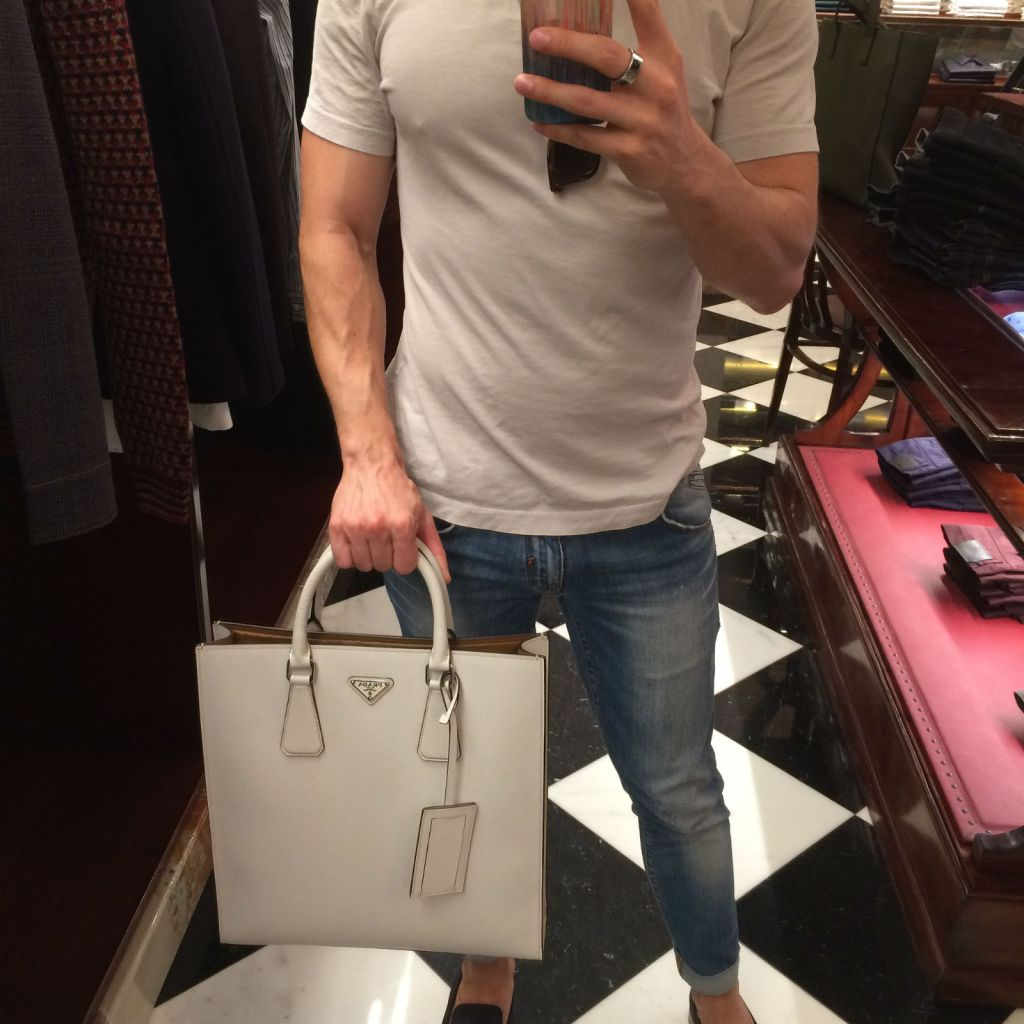 On my permanent wishlist: this Prada tote in white saffiano (matte finish) leather with a tan calfskin lining