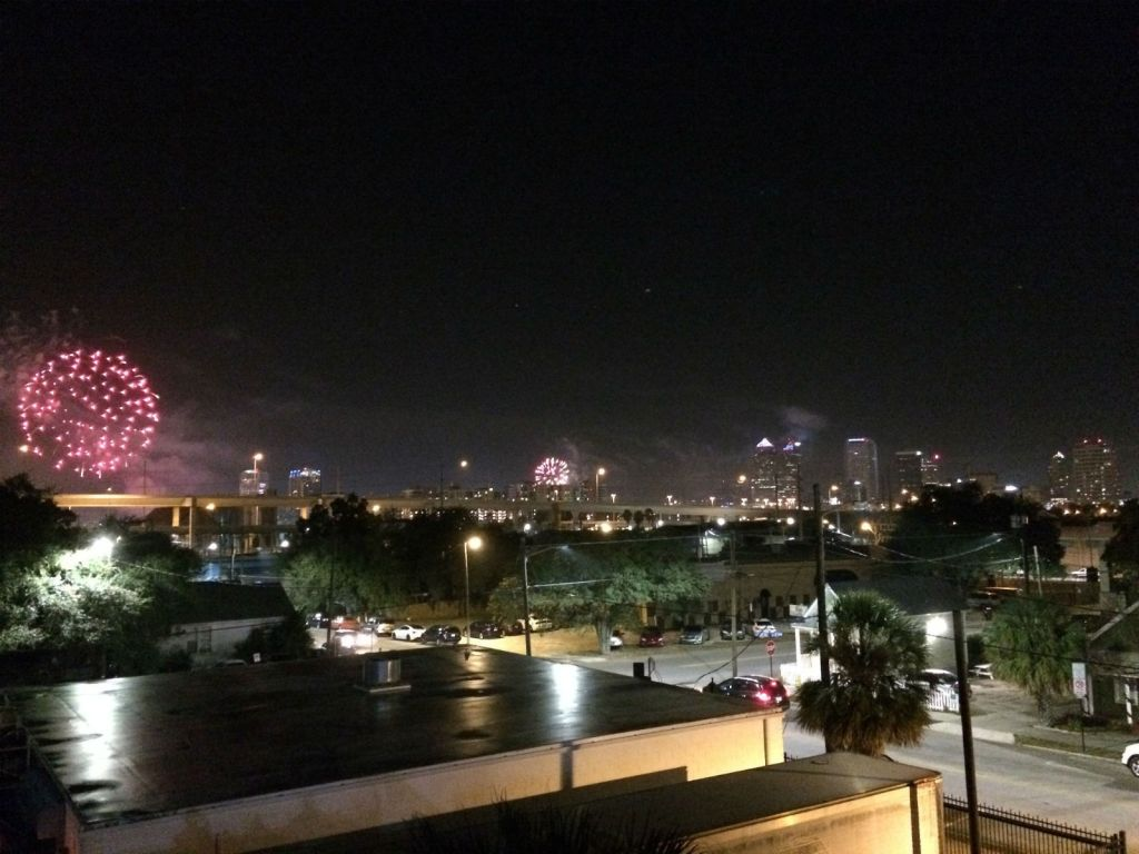 Fireworks over Downtown Tampa and the Channel District