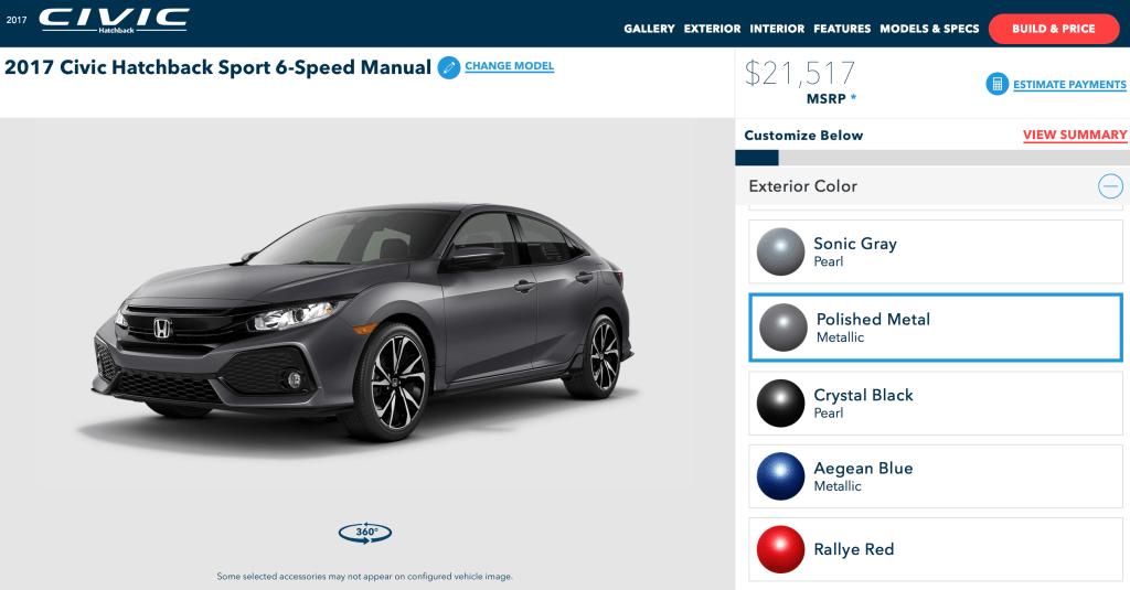 2017 Honda Civic Hatchback Sport online configurator
