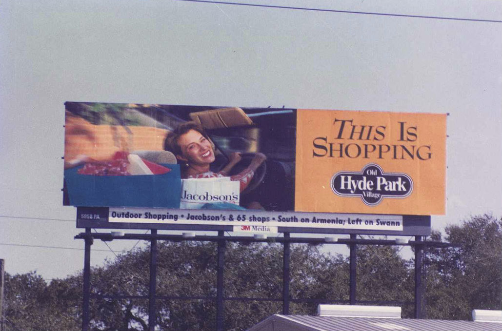 This is Shopping! Hyde Park Village billboard, circa 1990s