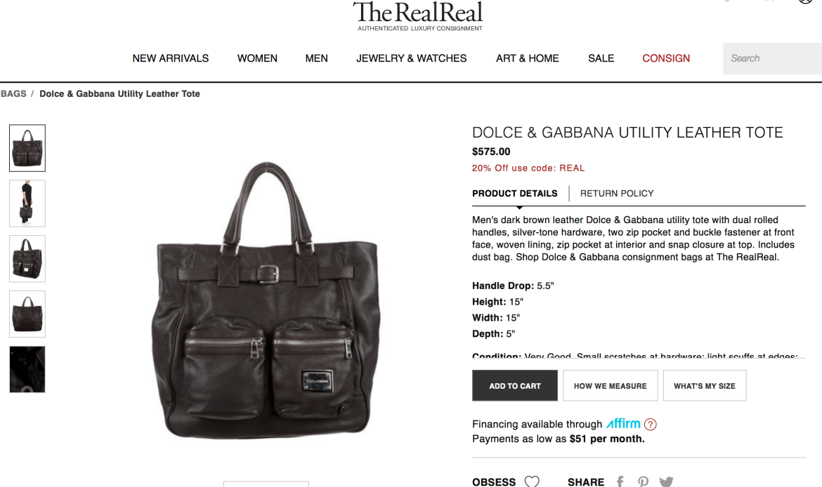 Dolce & Gabbana brown utility tote on TheRealReal