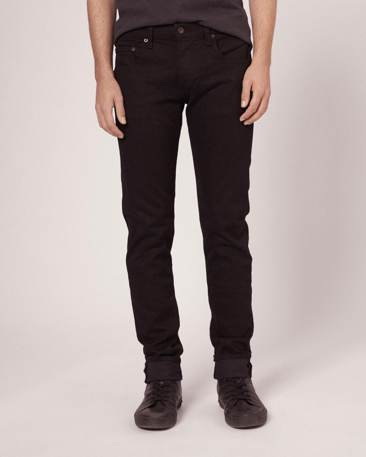 rag & bone Fit 1 black denim jeans, made in U.S.A. of Japanese fabric