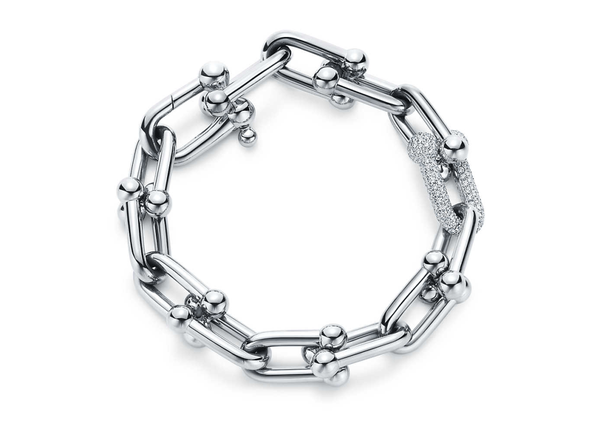 Tiffany HardWear Link Bracelet in white gold with diamonds