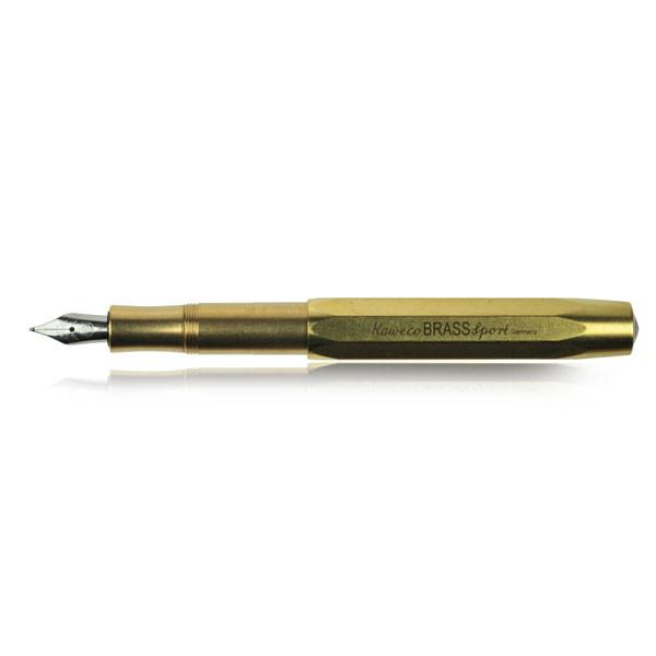Kaweco Brass Sport Fountain Pen. The Kaweco Brass Sport is a pocket-sized fountain pen that when posted transforms into a full-sized pen that easily fits in your hand. The raw brass will pick up its own unique patina and pattern of scuffs and scratches over time as you use and transport the pen, making this version of the Brass Sport truly unique to you. This fountain pen comes with a stainless steel medium nib. Only accepts short standard international cartridges (comes with one to get you started writing right away).