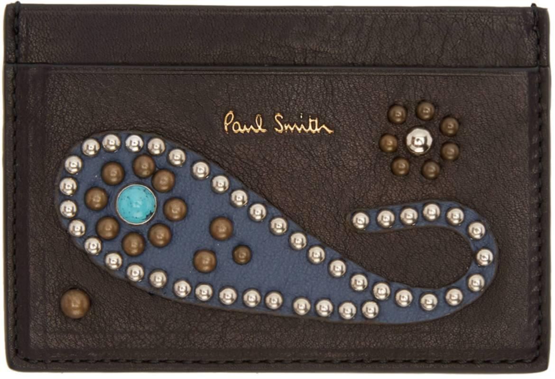 Paul Smith Tough Guy Paisley studded card case