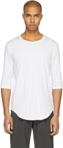 Attachment 3/4 sleeve white tee with slightly wider neckline and curved hem