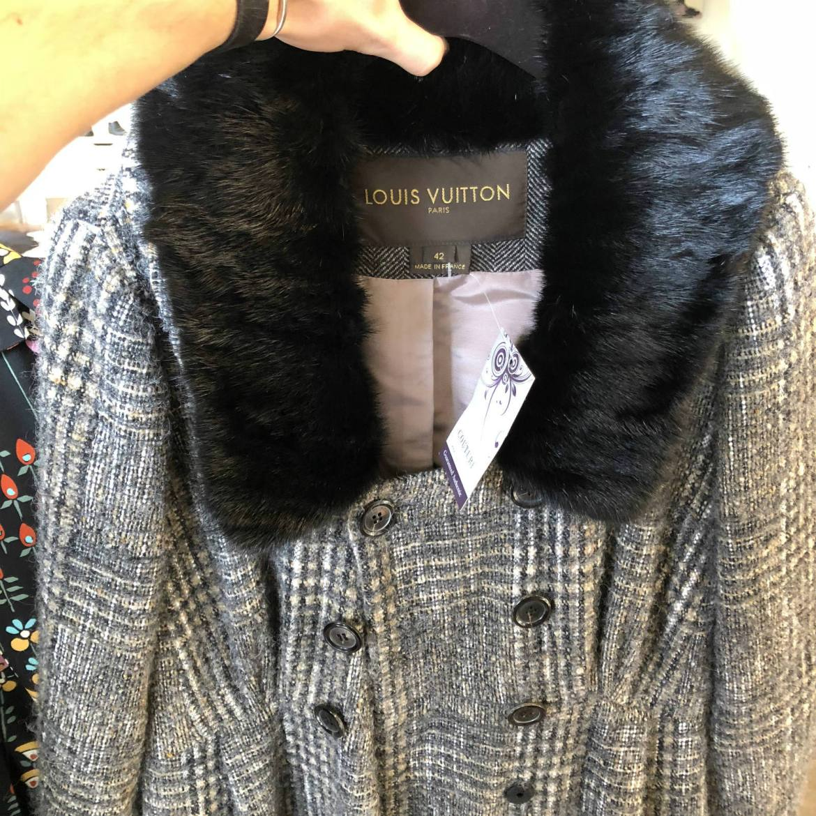 Louis Vuitton Tweed Coat with fur collar at Couture USA