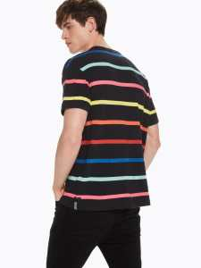 Scotch & Soda Rainbow striped cotton and linen t-shirt