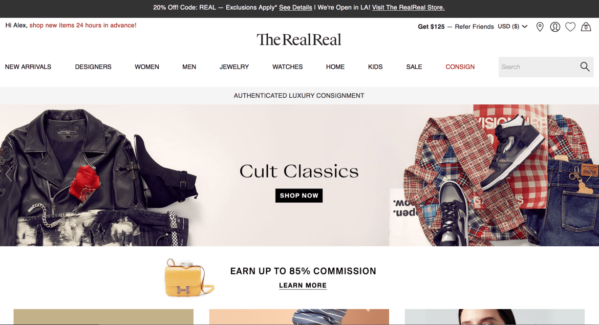 TheRealReal website screenshot August 2018