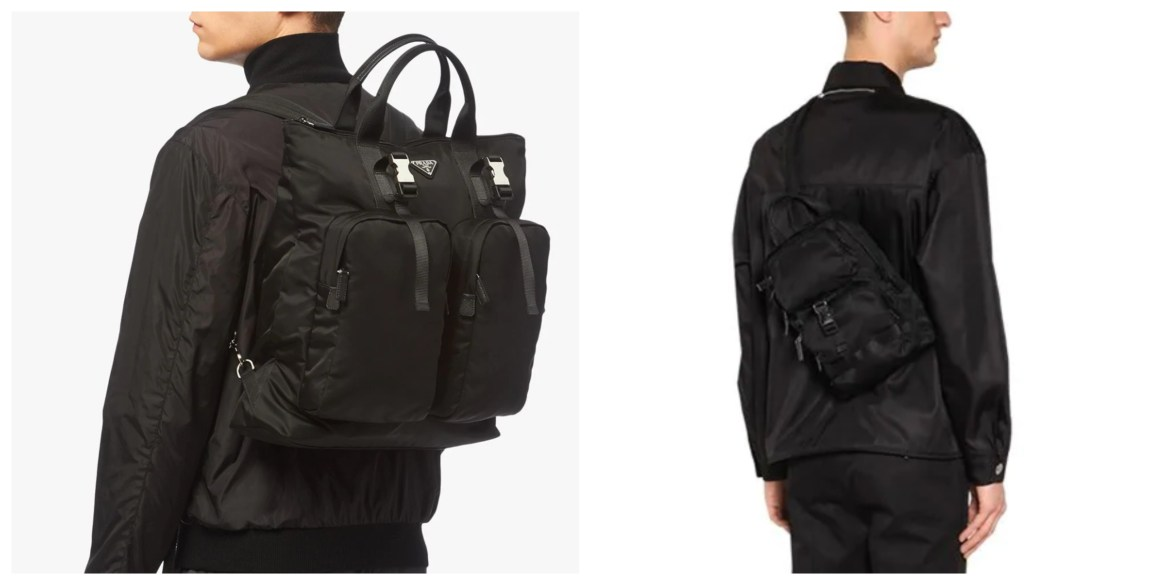 Prada Fall 2019 nylon bags - backpack, tote hybrid and crossbody backpack